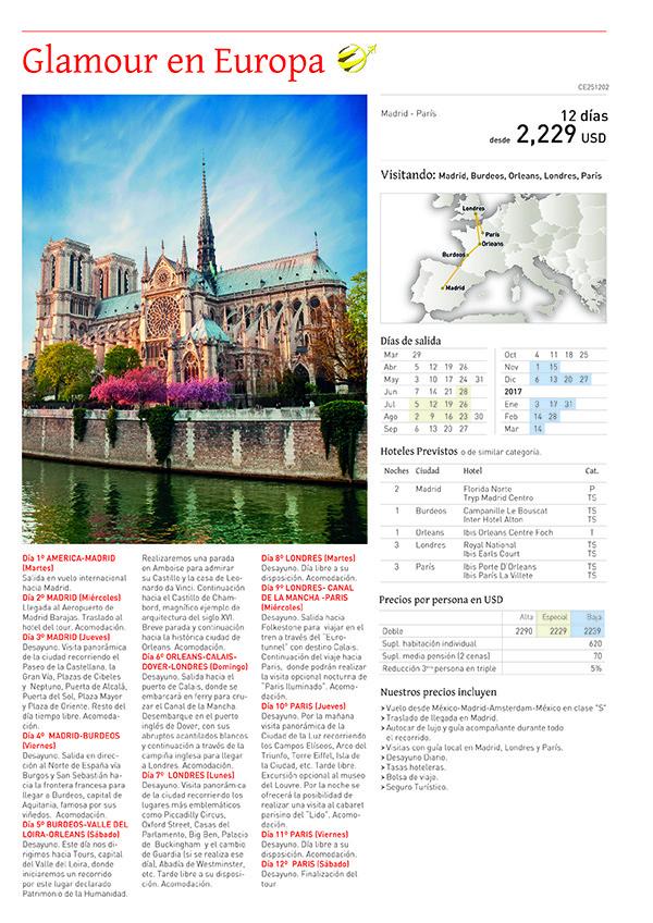 Glamour En Europa - Viajes por Europa desde México Viajes por Europa desde México Glamour En Europa Glamour en Europa folleto